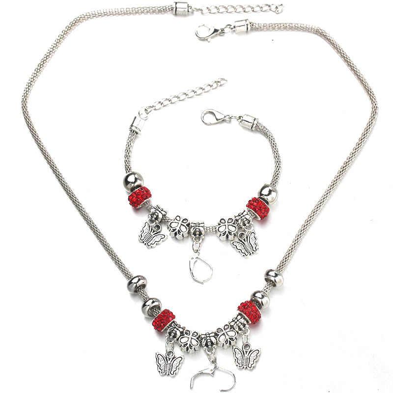 Butterfly Necklace Bracelet Set Fine Zircon Silver Bead Hollow Chain Beaded Bracelet With Hook DIY Making Pendant Jewelry