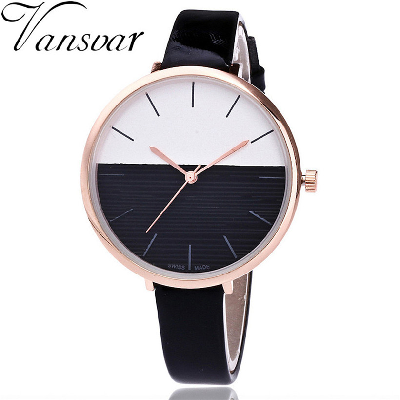2018 New Vansvar women watches Woman's Casual Quartz Leather Band New Strap Watch Analog Wrist Watch lady dress #10 fashion dress watch elegant crystal dial red faux leather band strap blink quartz analog casual lady women wrist watch stylish