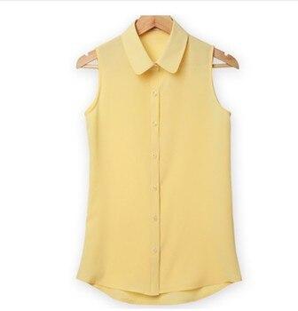 1bd43e3be7 NSZ sin mangas mujer vuelta-abajo Blusa De gasa Camisa De verano ...