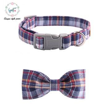 Синий клетчатый ошейник для собак с галстуком-бабочкой пластиковая пряжка для собак и ожерелье с кошкой товары для домашних животных хлопо... >> Unique style paws Official Store