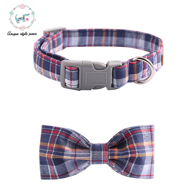 Blu Plaid Collare di Cane con il Legame di Arco di Plastica Fibbia Dog & Cat Col