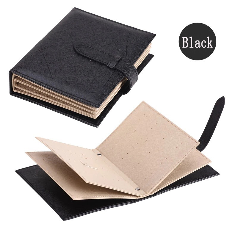 Pu Leather Stud Earrings Collection Jewelry Book Pattern Portable Jewelry Page Jewel Display Creative Jewelry Storage Box Black