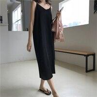 Сексуальное женское платье макси, свободное платье без рукавов с v-образным вырезом, длинное черное вечернее платье