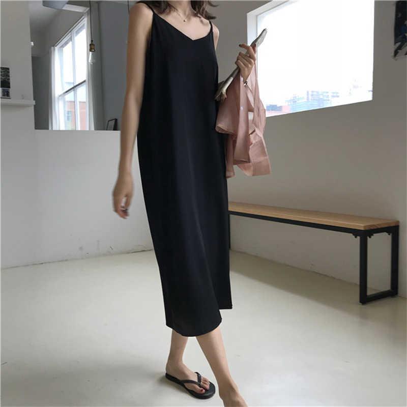 Сексуальное женское Макси платье свободные платья без рукавов с v-образным вырезом на бретельках длинное черное платье для вечеринки