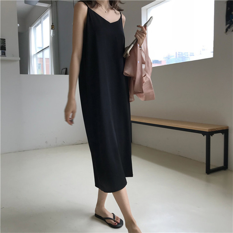 Sexy Women Maxi Dress Loose Sleeveless Dresses V-neck Sling Long Black Party Dress(China)