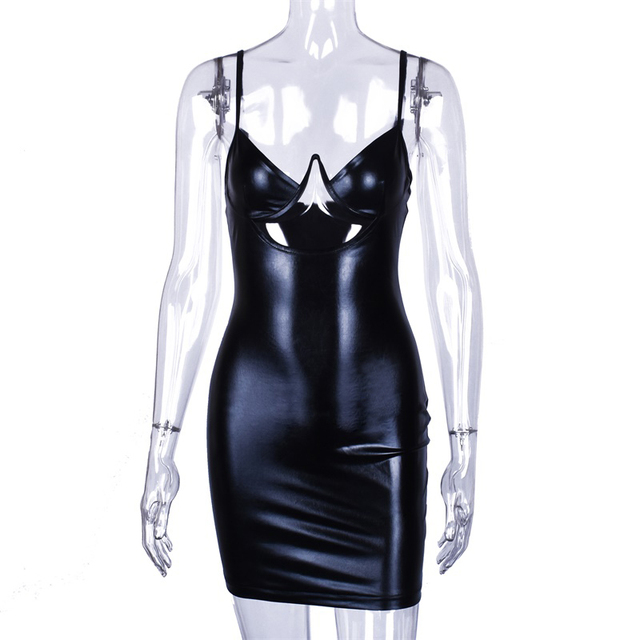 Bodycon mini sexy black leather dress