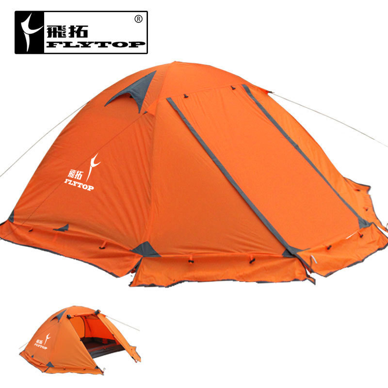FLYTOP high quality 3 person double layer rainproof windproof outdoor camping tent with snow skirt 210 * (50+180+50) * 115 cm good quality flytop double layer 2 person 4 season aluminum rod outdoor camping tent topwind 2 plus with snow skirt 3colors