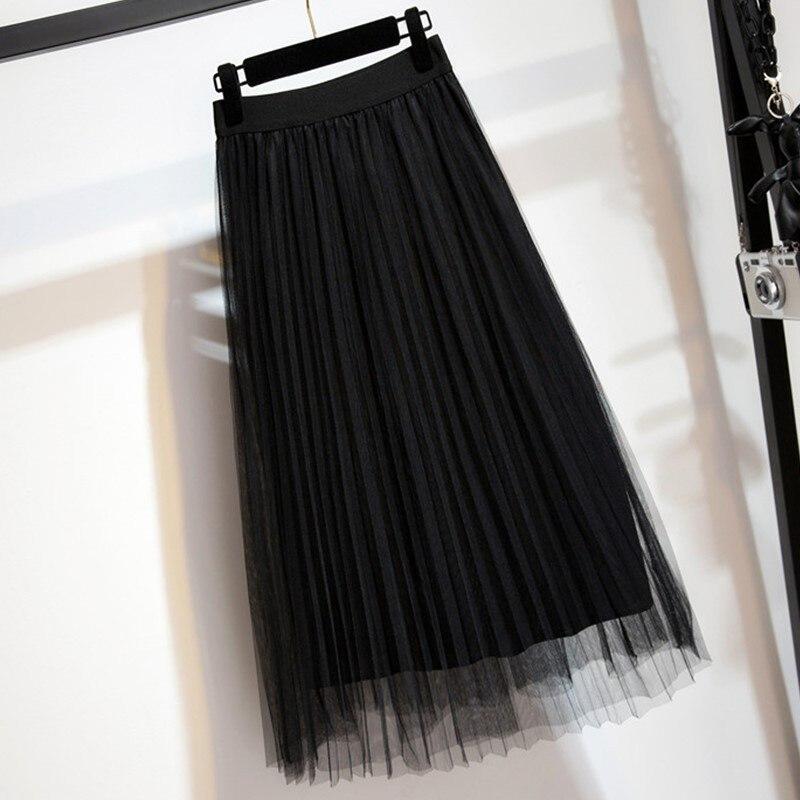 Women's Tulle Plain Pleated Skirt 2019 New Fashion Black Beige White Pink Grey Mesh Midi Skirt High Waist Woman Skirts 3 Layers