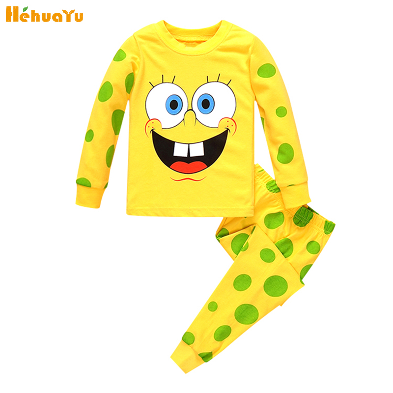 2PC High Quality Children Girl Boy Clothes Set Cartoon Cute Sponge Fashion Clothing Yellow Long Sleeves+Pants Cozy Pajamas Suit