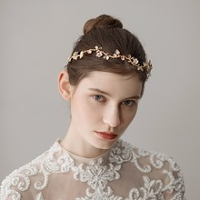 Womens Wedding Dresses Accessories Fashion Hairbands Floral Handmade Hair Accessory Gold Flower Band Bridal O352