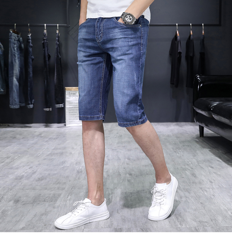 KSTUN Men's Jeans Trousers Summer Shorts Light Blue Stretch Denim Short Slim Fashion Shorts Man Casual Mens Jeans De Homme Newly 14