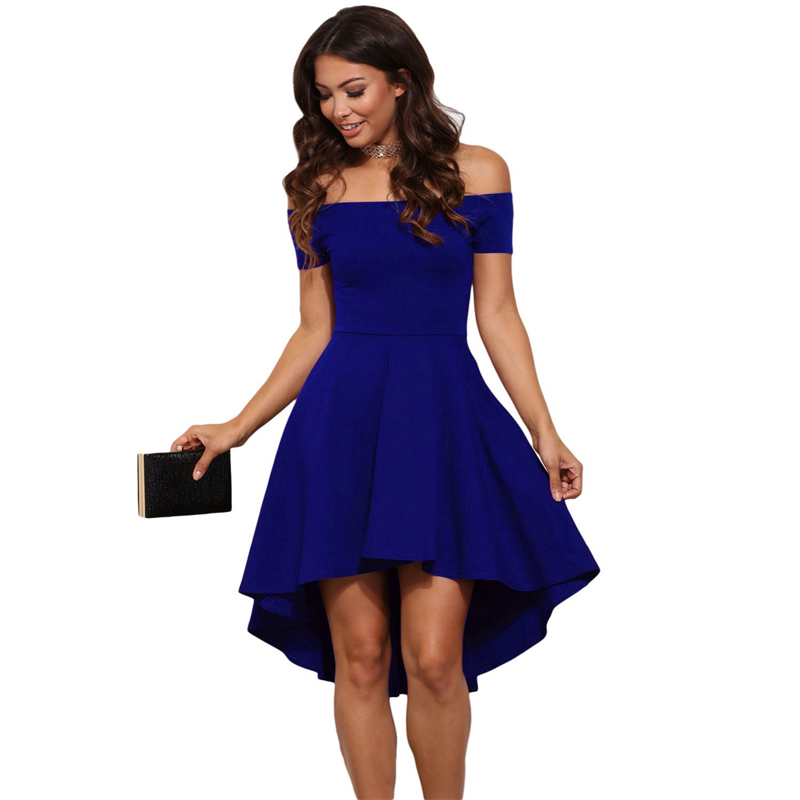 2018 Summer New Women's Asymmetry Dresses Sexy Off Shoulder Short Sleeve Party Dress Pure Color Dovetail Dress Vestidos