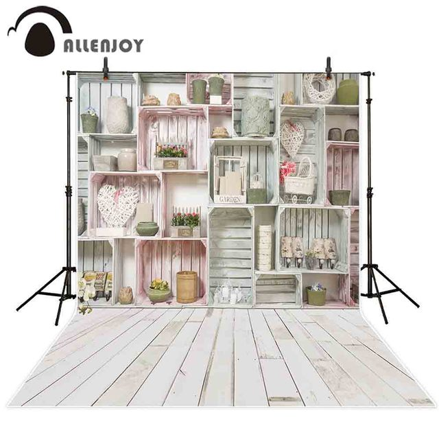 Allenjoy photography background Spring wood shelf wall flower heart backdrop photo studio shoot prop photocall photophone decor