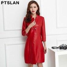 Ptslan Medium long Genuine Leather Jacket Women 2017 New Autumn Women s Real Lambskin Leather Coat