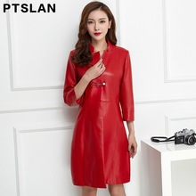 Ptslan Medium-long Genuine Leather Jacket Women 2017 New Autumn Women's Real Lambskin Leather Coat