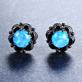 Blue/White Fire Opal Stud Earrings For Women Wedding Jewelry Vintage Black Flower Gold Filled Female Ear Studs Earring Ear0627