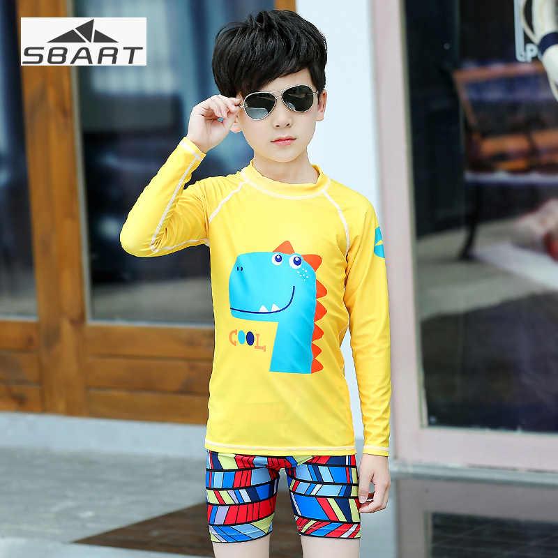 Sbart 2 قطعة الكرتون ملابس سباحة للأطفال السباحة قميص السباحة قليل الأصفر الصبي المايوه طويلة الأكمام طفح الحرس الأشعة فوق البنفسجية حماية
