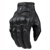 Retro Perforated Leather Motorcycle Gloves Cycling Moto Motorbike Protective Gears Motocross Glove Winter Man Female Off