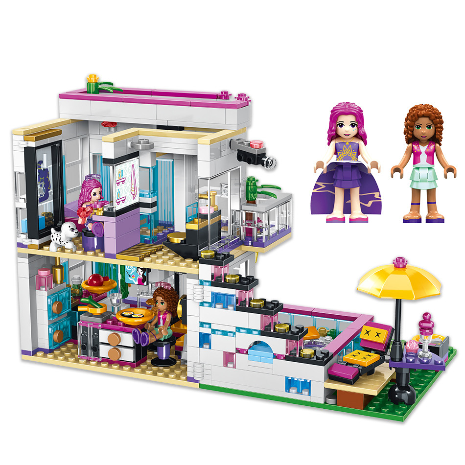 760PCS-Pop-Star-Livi-s-House-Building-Block-Compatible-Legoing-Friend-For-Girls-DIY-figures-Bricks (2)