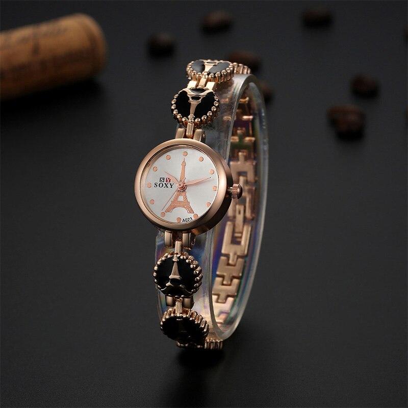 New Hot Sale Bracelet Watch SOXY Luxury Brand Gold Watch Women Dress Quartz Watch Ladies Watches Lady Hour Clock Gift TME0021