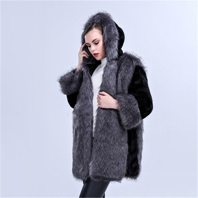 Nouvelles Chaud La De Taille À Femelle Capuchon Femmes Mode Veste Plus Outerwea Hiver Renard Manteaux Faux Épais Gray A1157 Okxgnz Col Fourrure rBrwfq7