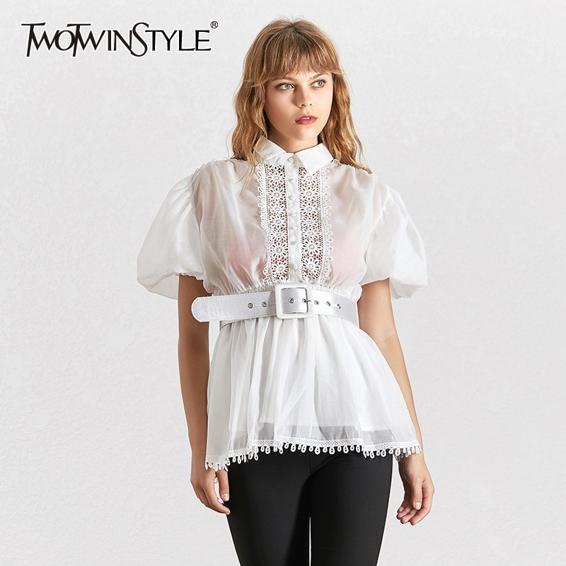 TWOTWINSTYLE Elegant Embroidery Patchwork Women Blouse Lapel Collar Half Sleeve Tunic Chiffon Shirt Female Fashion Summer 2020