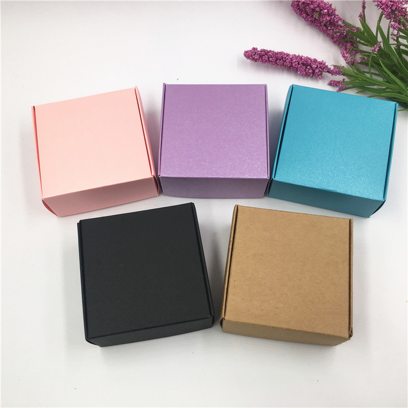 Creative 100pcs Colorful Paper Gift Packing Box Various Aircraft Blank Cardboard Jewelry Accessories Storage Box