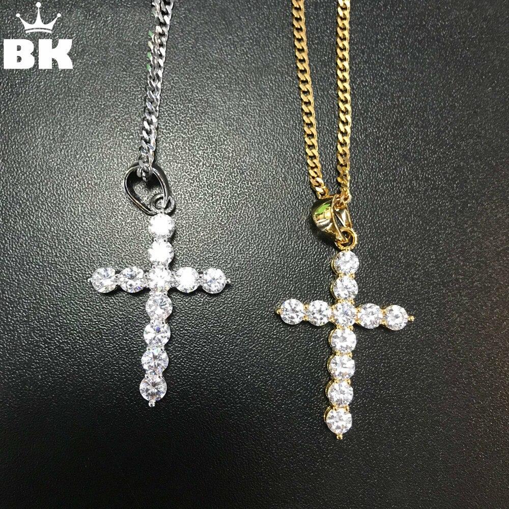 fea4183f0b12 Cheap Hip Hop collar plateado plata joyas mujer moda Cruz CZ Zircon cúbico  piedra collar regalo