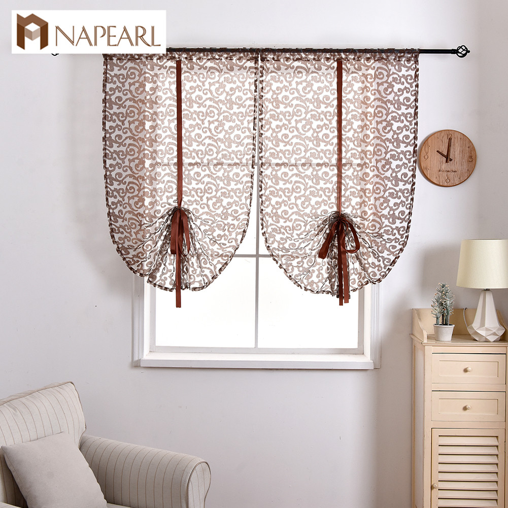 NAPEARL Short Roman String Jacquard Drops For Kitchen Windows Tulle Fabric Transparent Fabric Hot Sale Curtains European Style