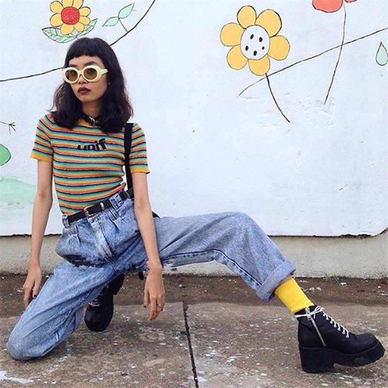 unif 2018 Girls Rainbow Striped  Women Knitted Crop Tops Sweater 2018 Summer Streetwear  Women Knitwear Tee Shirts Sweater