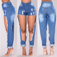 HIRIGIN Newest Hot Women Hole Destroyed Ripped Distressed Denim Pants Girlfriend Hole Jeans Summer Girl Casual