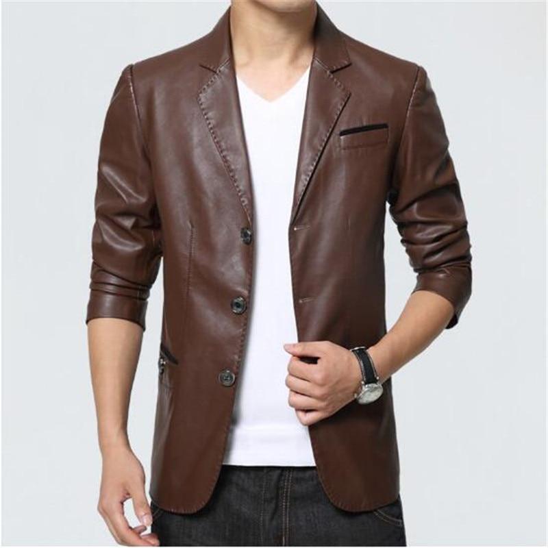 Hommes en cuir veste 2018 nouveau Blazer Style Slim Fit PU en cuir veste hommes grande taille solide homme manteau hommes vêtements - 2