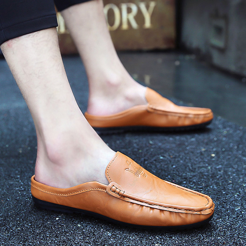 Korean Version Of The Summer Casual Simple And Comfortable Single Wear Baotou Men's Sandals Without Heel Half Drag 3