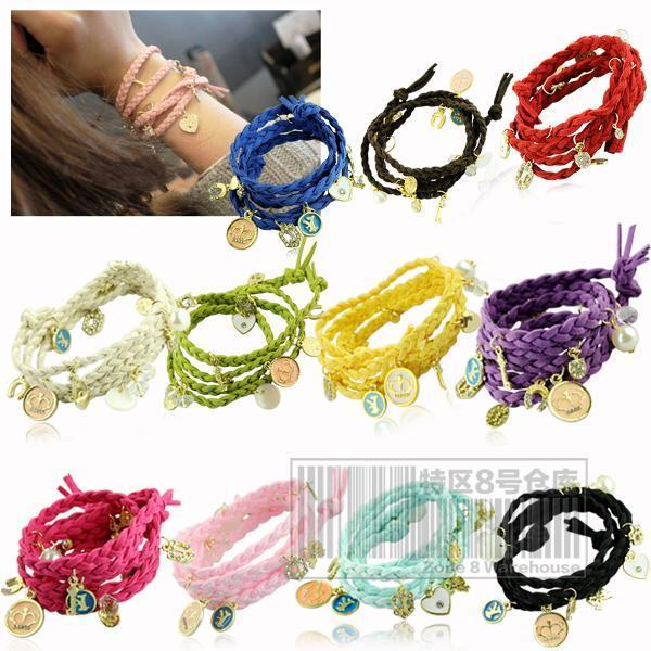 Eq5441 multi-layer pendant knitted bracelet fashion leather bracelet color