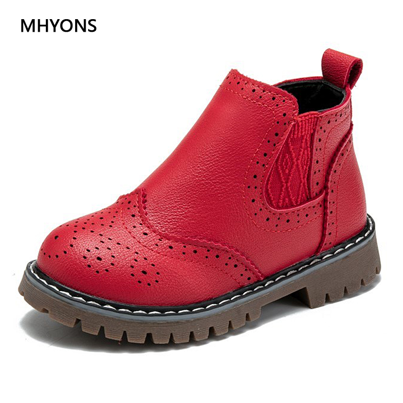 MHYONS Spring Autumn 2019 Girls Pink Martin Boots Kids Shoes Girls Short Boots Waterproof Leather Boot Toddler Shoes Kid Sneaker