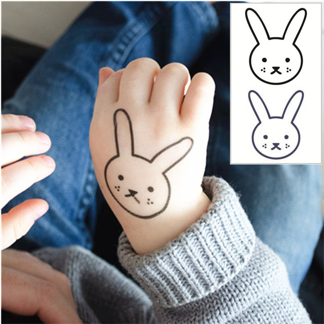 Rabbit Face Flash Tattoo Hand Sticker 10.5x6cm Small Waterproof Henna Beauty Temporary Body Tattoo Sticker Art FREE SHIPPING