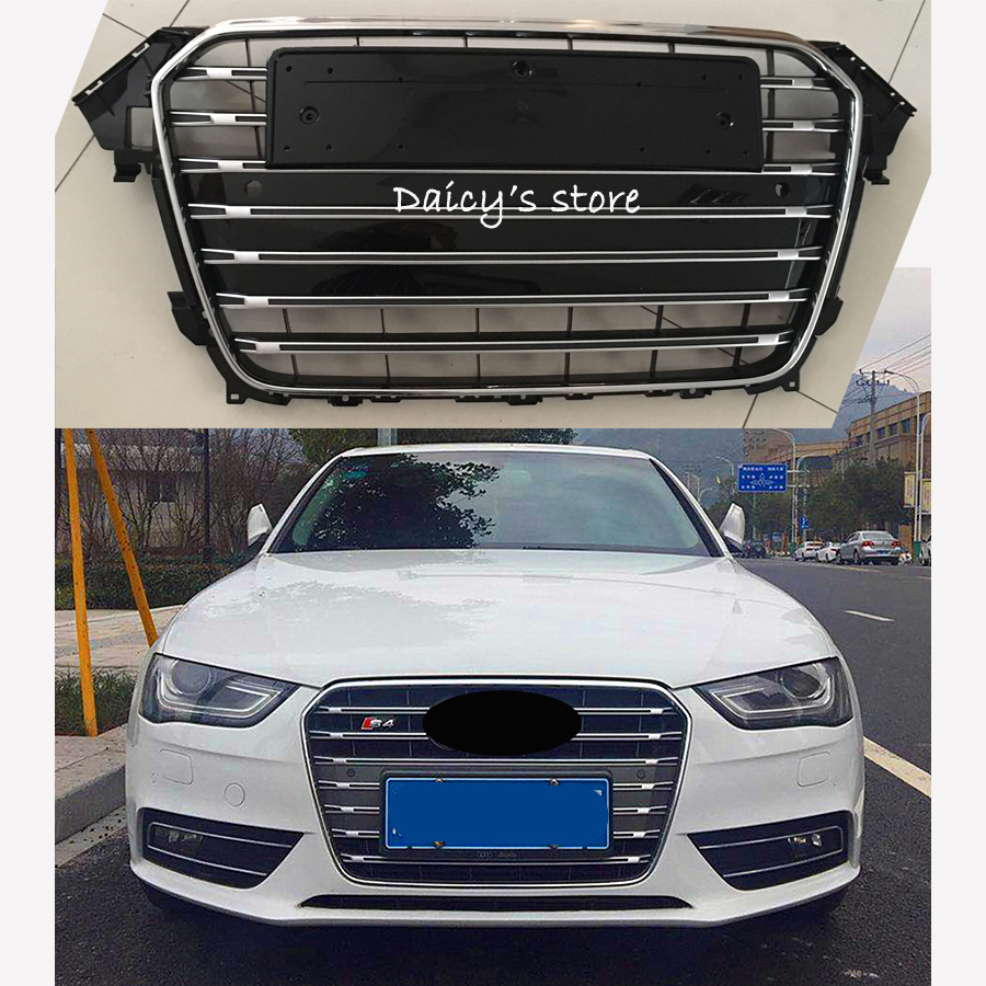 A4 S4 Style Racing Grills Chrome ABS Front Bumper Grille