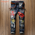 King Bright 2017 ripped jeans for men high quality blue color jeans men size 29-38 new brand design denim biker jeans mens pants