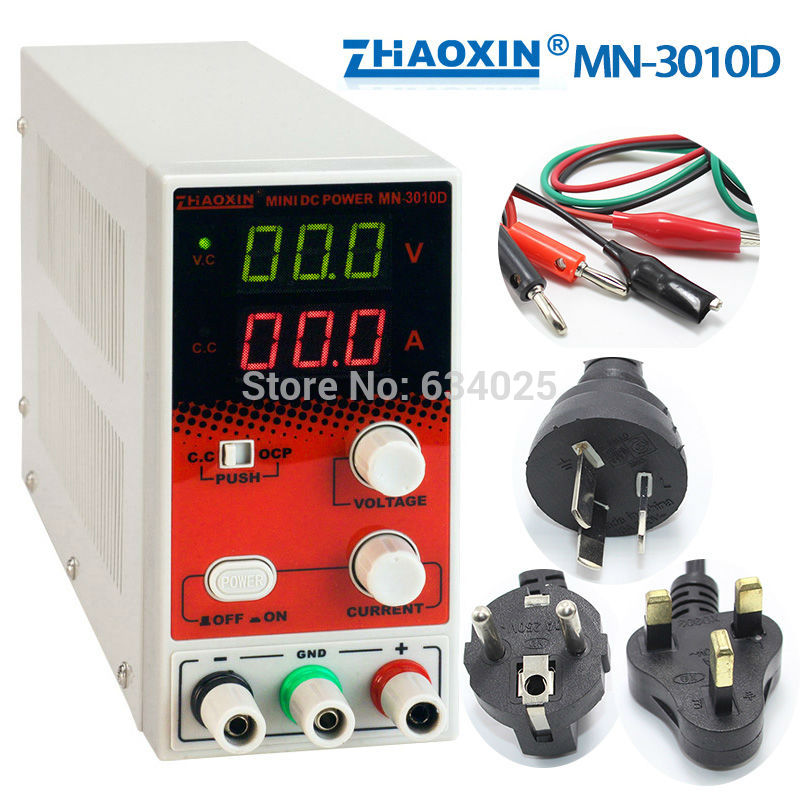 ФОТО New zhaoxin MN-3010D Mini Switching Regulated Adjustable DC Power Supply SMPS Single Channel 0-30V 0-10A Variable + Free Gifts