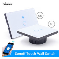 Itead Sonoff Wifi Switch Wall Touch Switch Wireless Remote Control EU US Glass Panel 1way Timing