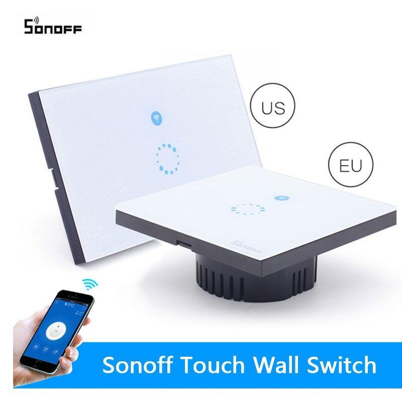 imágenes para Itead Sonoff Wifi Interruptor de Control Remoto Inalámbrico Táctil de Interruptor de Pared de LA UE EE. UU. Cristal Panel 1way Interruptor de Sincronización inteligente Domótica