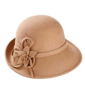 Image 2 - 2019 yeni kadın kova şapka kış yün Vintage çiçekli bayan Fedoras keçe şapka moda fransız melon Sombrero yün şapka kadınlar için