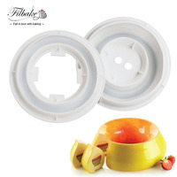 One Set Round Flame Shaped Smooth Cover Silicone Cake Molds Freezing And Baking Mold Cake Pan