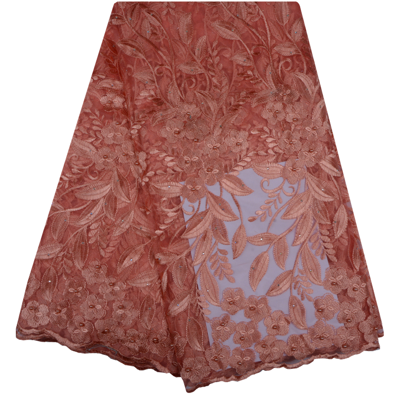 French Net Lace Fabric 2018 Latest African Guipure Lace Fabric With Embroidery Mesh Tulle Peach Cord