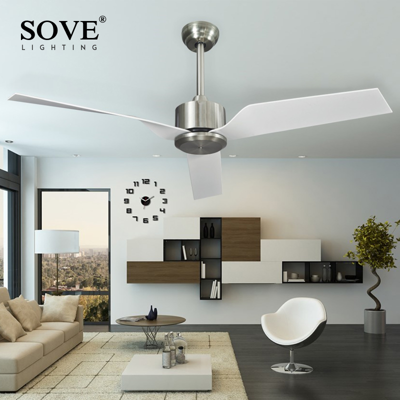 Sove Modern White Ceiling Fans Without Light Remote