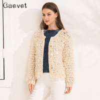 Gaovot 2017 Autumn Women Sweaters Series Winter Sequins Fashion Cardigans For Woman Outwear Mohair Knitted Jumper