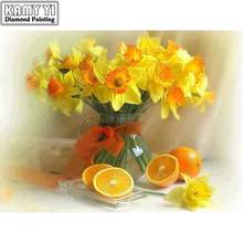 DIY Diamond Painting Cross Stitch Yellow flowers and oranges Home Decor Full Rhinestone Mosaic 5D Diamond Embroidery(China)
