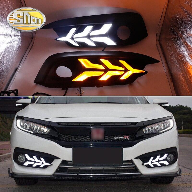 For Honda CIVIC 2016 2017 2018 Daytime Running Light LED DRL fog lamp Driving lights Yellow Turn Signal Lamp