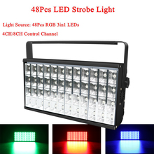 Stage Effect Lighting 48pcs LED RGB 3IN1 Light Projector Strobe Light DMX512 Sound For DJ Club Disco KTV Stage Party Show