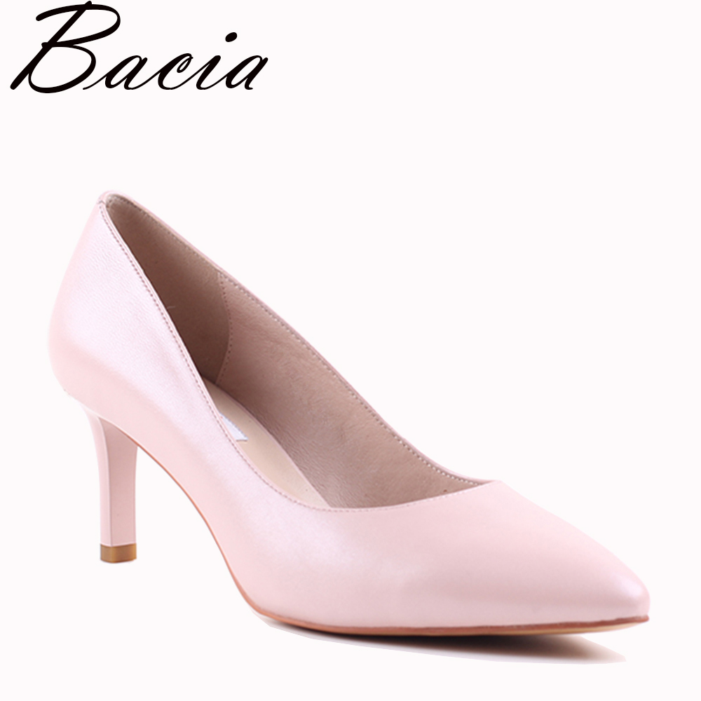 Bacia Genuine Leather High Heel Shoes Summer Pink Women Classic 6cm Thin Heel Pointed Toe Pumps Fall Fashion Party Shoes VXA012 summer women high heel shoes women pumps genuine leather pointed toe buckle crystal women square heel fashion party shoes